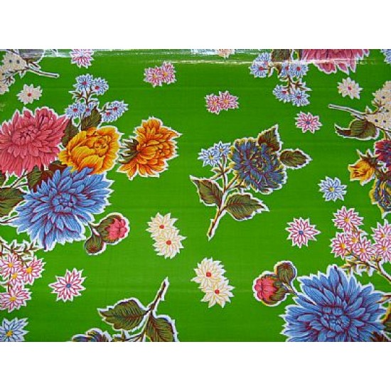 Mexican oilcloth chrysant green - off the roll